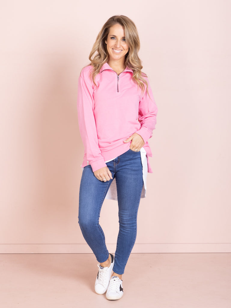 Foundry Zip Neck - Bubblegum Pink