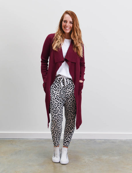 Zara Cardigan Wine