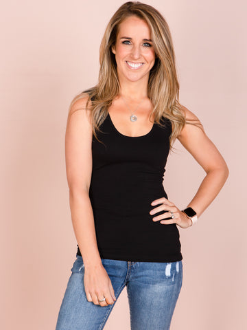 Emma Scoop Tank - Black