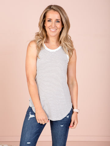 Keira Tank - White / Black stripe