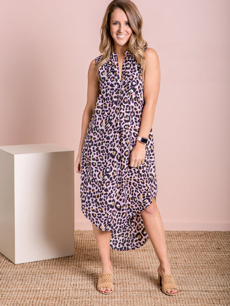 Indie Dress - Blush Leopard