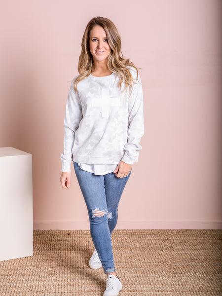 Grey Camo White Cross Jumper