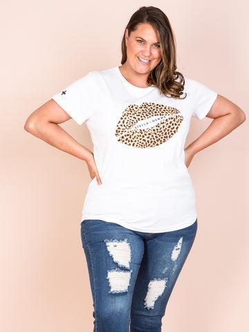 White T-Shirt Leopard Lips