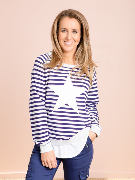 St Tropez Sweater - Navy With Stripes