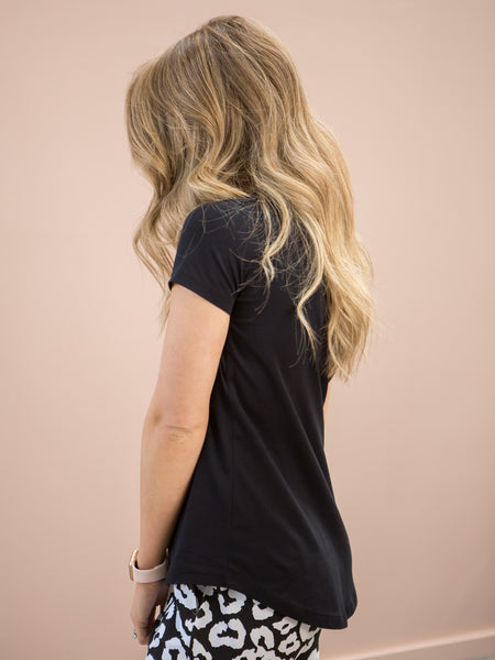 Lucy V-Neck Tee Black