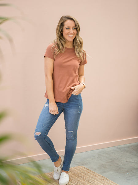 Natty Round Neck Tee Terracotta