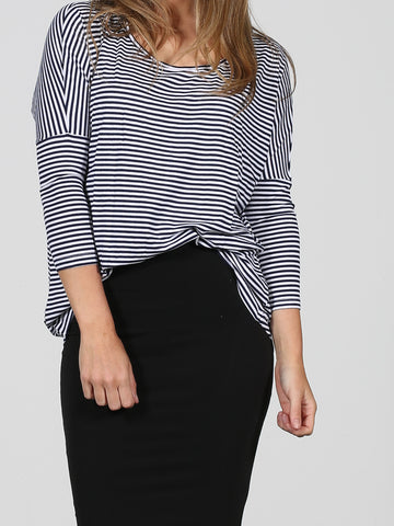 Milan 3/4 Sleeve Top - Navy/White Stripe