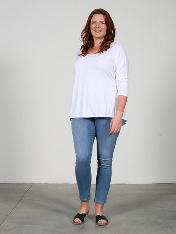 Milan 3/4 Sleeve Top - White
