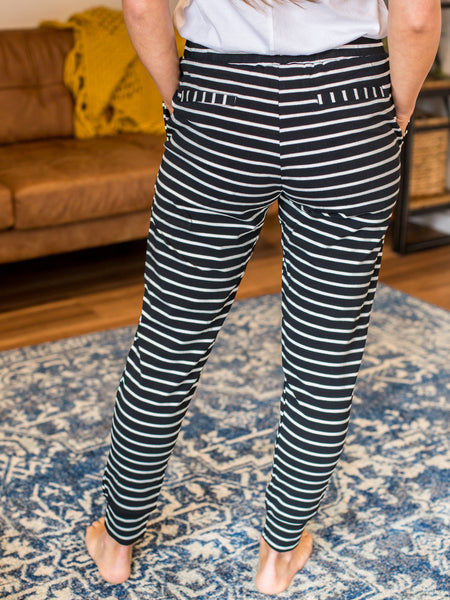 Mia Stripe Trackies - Black