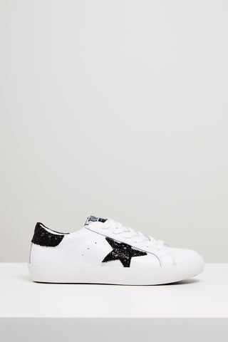Kobi Leather Sneaker- White / Black Glitter Star