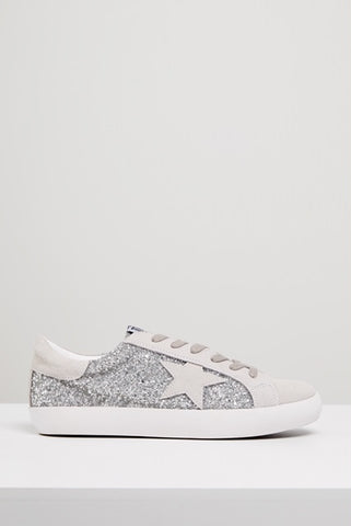 Kobi Leather Sneaker- Silver Glitter/ White Star
