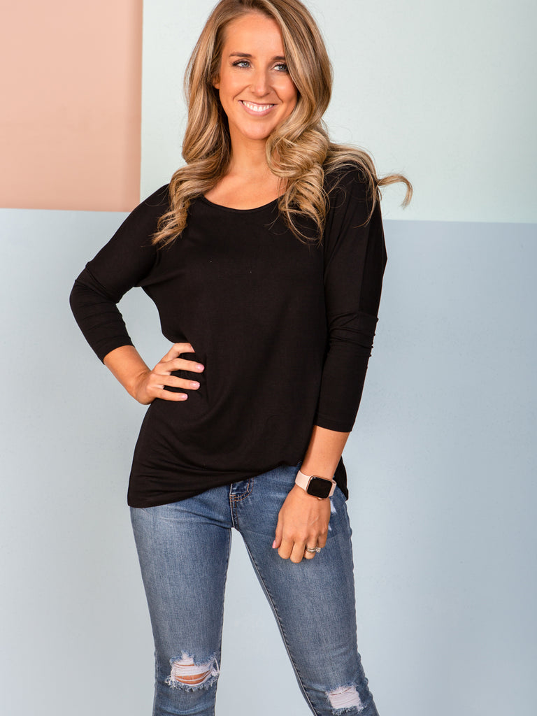 Atlanta 3/4 Sleeve Top - Black