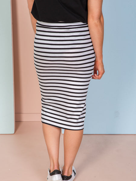 Siri Skirt - White/Black Stripe