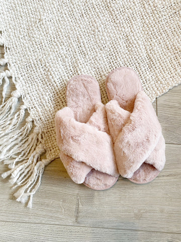 Fluffy Cross Slipper Pink
