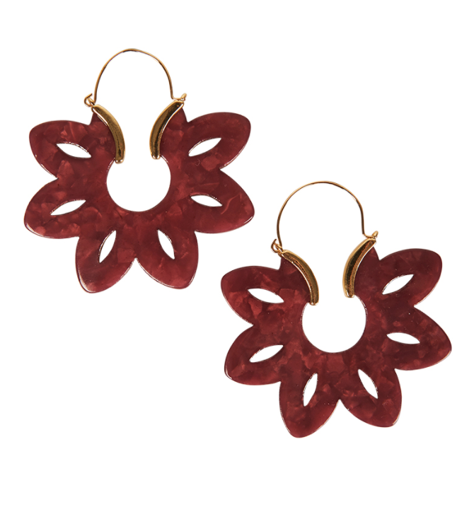 Frida Floral Earring - Plum