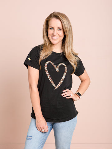 Stella and Gemma Black Leopard Heart Tee