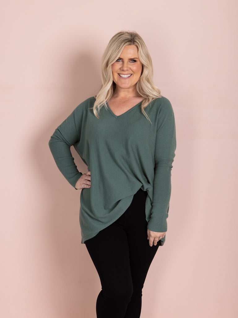 Nadia V Neck Knit - Moss Green