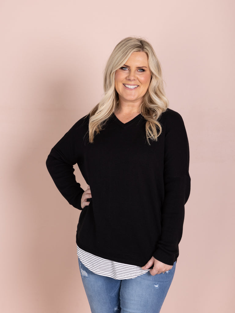 Paige V Neck pullover - Black