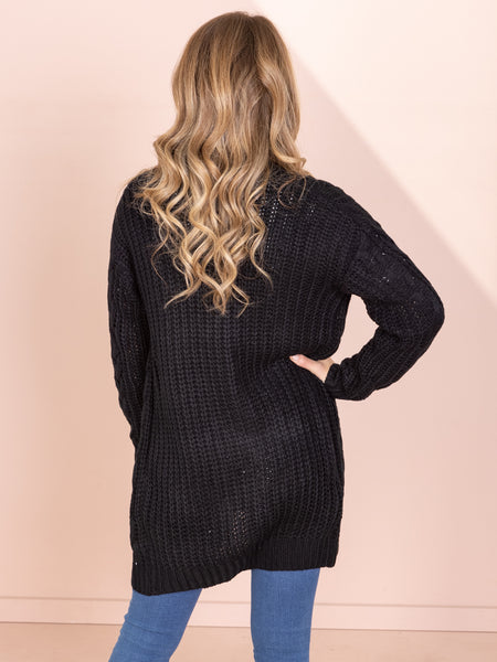 Kate Cable Knit Cardi - Black