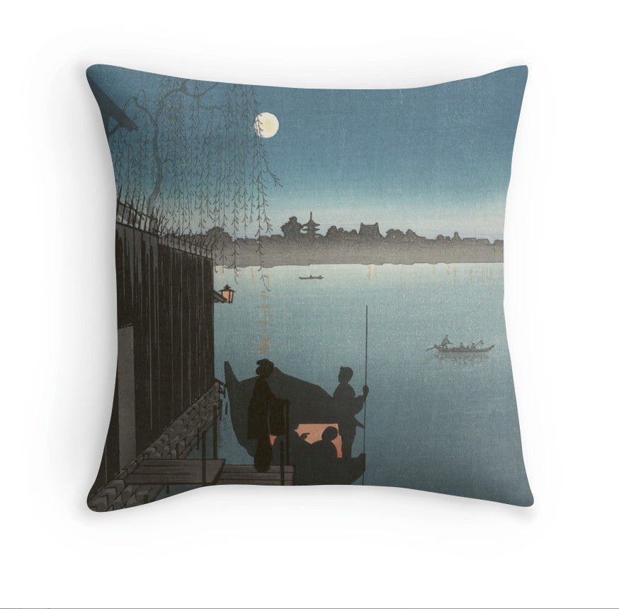 Cushion - Japan Print - Sanbashi Bridge in Fukugawa at night.-01838