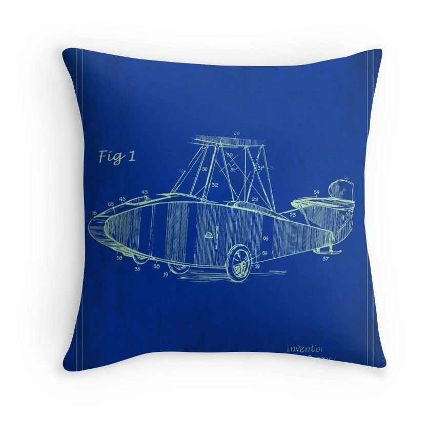 Cushion - Serendipity - Patent Image - Airplane - Blue Poster