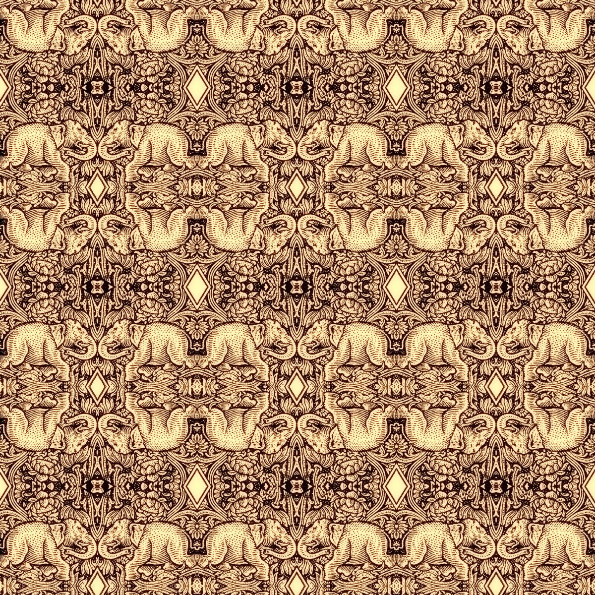 Cushion - Kaleidoscope - Elephant - Sepia Glow - Stamp Detail