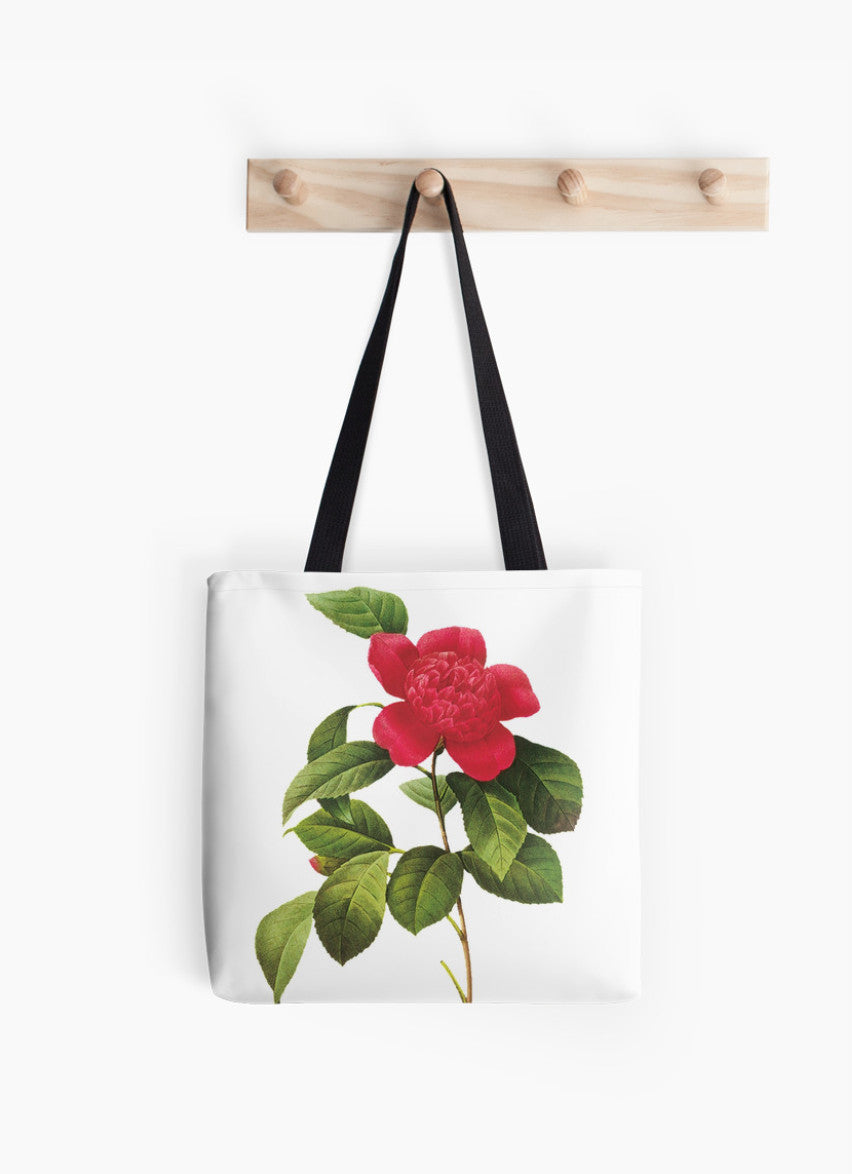 Tote Bag - FF - Vintage - Flower - Red Passion Flower / Spanish jasmine