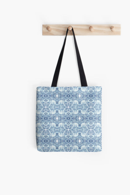 Tote Bag - Kaleidoscope - Elephants - Cold Blue