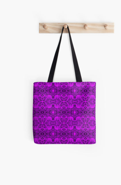 Tote Bag - Kaleidoscope - Elephants - Purple - Stamp Detail
