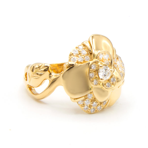 Chanel bague Camélia or jaune et diamants