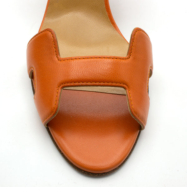 Hermes sandals orange shoes