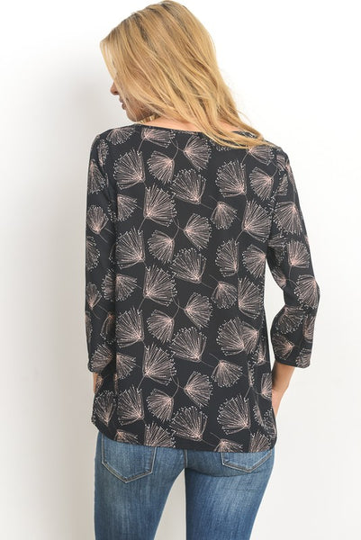 Dandelion Print 3/4 Sleeve Top