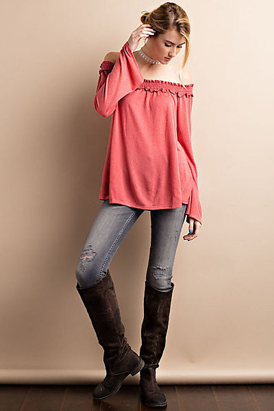 Off Shoulder Smocked Long Sleeve Top Sunset Red