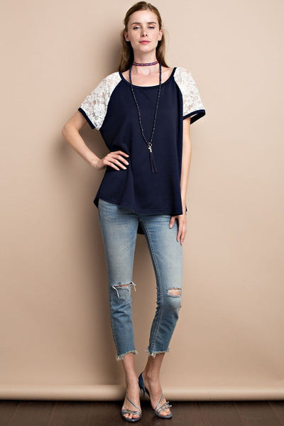 Knit Top with Lace Cap Sleeve Navy