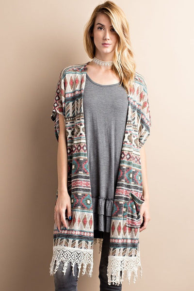 Sleeveless Tribal Poncho Sweater Teal/Rust