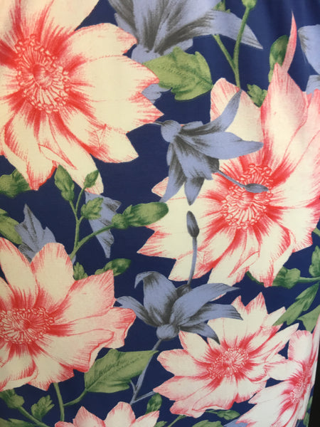 Sleeveless VNeck Dress Blue Floral Print