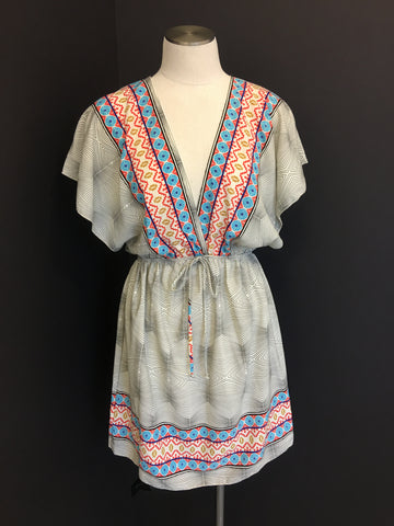 Border Print Dress Ivory
