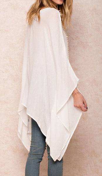 Over Sized Poncho Tunic Off White