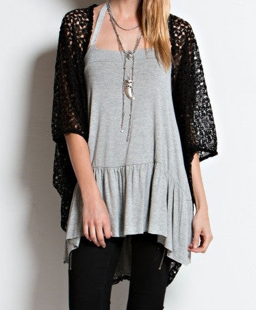Crochet Dolmen Cardigan Black