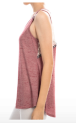 Tank Top With Floral Lace Detail on Back Burgundy