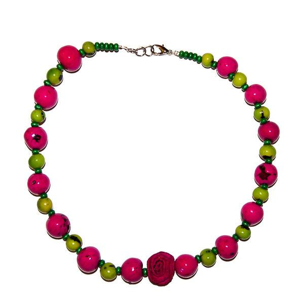 Valentina Girls Necklace Hot Pink/Green