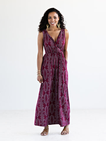 Catalina Maxi Dress in Maroon