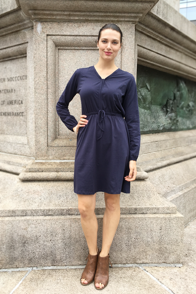 Helena Peasant Elastic Waist Dress in Navy