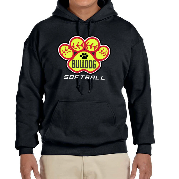 TV Bulldog Softball - Adult Heavy Blend Hooded Sweatshirt - Black