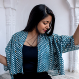 Monsoon – मानसून Batwing Shrug in indigo and metallic gold