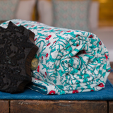 Bageecha - बग़ीचा Throw / Blanket in aqua blue and coral