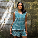 Monsoon - मानसून Short Pyjama Set in indigo and metallic gold – Pre-order to be shipped by 30th May