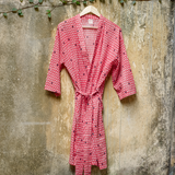 Monsoon - मानसून Cotton Dressing Gown / Robe in coral pink and indigo