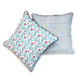 Bageecha - बग़ीचा Set of 2 Cushion Covers in aqua blue and coral