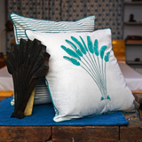 Kela - केला Set of 2 Cushion Covers in aqua and deep green